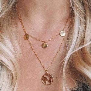 OCEAN DREAMS Gold Layered Disc World Necklace